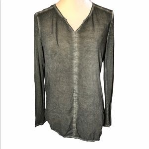 Ecru Distressed Wash Long Sleeve Rayon Top S